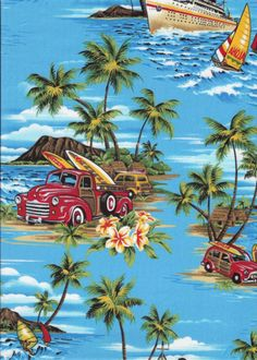 80 Olali apparel cotton, woodies,surfboards, palm trees, airplanes, ships, Diamond Head, Hawaiian vintage style fabric.  BarkclothHawaii.com