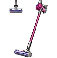 Front view of the Dyson Motorhead cordless vacuum cleaner. fuchsia color with fuchsia two-tier cyclone pack. Cordless Vacuum Cleaner, Handheld Vacuum Cleaner, Clean Dyson Vacuum, Best Vacuum, Coat Hanger, The Help, Purple, Cleaning, Products