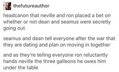 tumblr, deamus, Dean Thomas, Seamus Finnigan, Harry Potter, hp --- not a shipper of this particular couple but man Nev and Ron would so do this x)