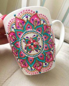Pink Mandala Art Mug/ Coffee Mug/ Unique Coffee Mug/ Ceramic Mugs/ Cute Mugs/ Tea Mugs/ Coffee Lover Gifts/ Art Print Mug/ Dot Art Painting, Pottery Painting, Ceramic Painting, Glass Painting Designs, Mandala Art, Mandala Painting, Painted Mugs, Hand Painted Ceramics, Coffee Lover Gifts