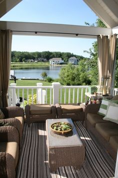 decor, lake houses, idea, deck design, outdoor room, patio, outdoor spaces, outdoor curtains, front porches