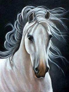 Pintura ,cavalo - Her Crochet Horse Drawings, Animal Drawings, Art Drawings, Horse Canvas Painting, Canvas Art, Horse Artwork, Animal Paintings, Horse Paintings, Pastel Paintings