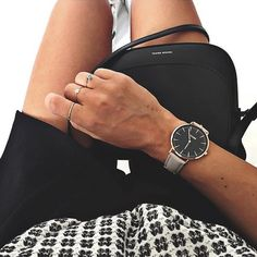 """""""Gorgeous look by @audreylombard #CLUSE #watch #rosegold #black #grey #laboheme #fashion #style"""""""