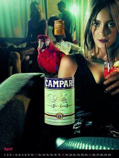Campari liqueur woman & parrot