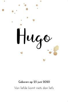 Eenvoudig en clean geboortekaartje met gouden verfspaten en confetti. Heel stijlvol en chique!