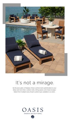 Check out these stunning water resistant navy outdoor cushions! Patio Chair Cushions, Outdoor Cushions, Patio Chairs, Foam Cushions, Blue Cushions, Outdoor Spaces, Outdoor Living, Outdoor Decor, Outdoor Ideas