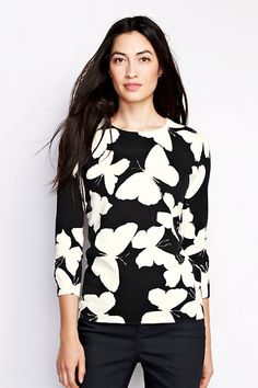 Women's Supima 3/4-sleeve Print Crew Sweater from Lands' End - right up my alley!