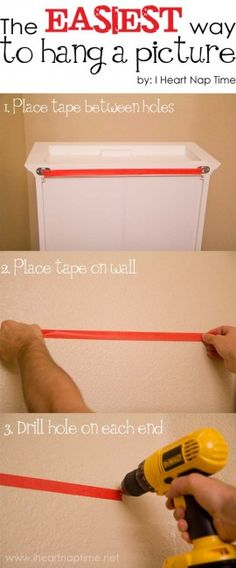simplest way to make sure your nails or screws are placed in the right spot. place a piece of tape from one hole to the next on the item your hanging, remove and place tape on wall. here are your exact spots for drilling or hammering.