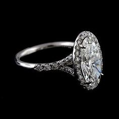 14K White Gold Cut Down Micropave Halo Spli Shank Oval by OroSpot. There are no words! This is so beautiful!