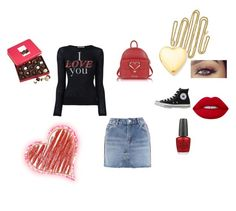 """Valentines"" by the-sexy-beauty ❤ liked on Polyvore featuring Topshop, T By Alexander Wang, WALL, Converse, Love Moschino, Kevin Jewelers, OPI, Lime Crime, Harry London and valentinesday"