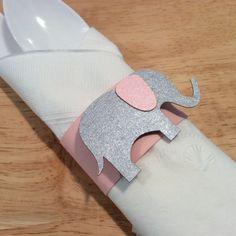 Rosa Elefant Baby Dusche Serviettenring set von DecorateYourBigDay, $9.00