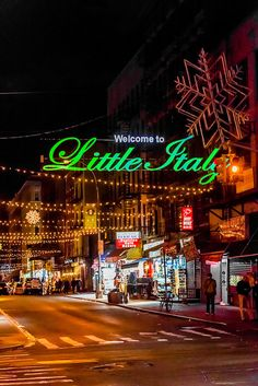 Mulberry Street in Little Italy....been there done that loved it and will do it again with you. ..J