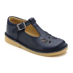 Tea Party (navy leather)    A girls classic looking dyed-through leather shoe with stitch down soles, T-bar buckle fastening and leather linings.