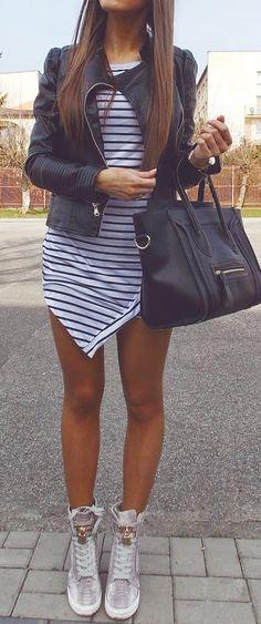Stripes dress & moto jacket