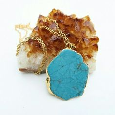 "Natural Turquoise Necklace Beautiful!  Natural turquoise stone pendant on a 24k gold plated 18"" chain.  About 1.5"" across. Each is unique.  Handcrafted in the USA. Twilight Gypsy Collective Jewelry Necklaces"