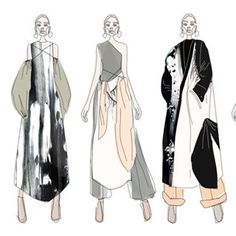 Fashion Illustration Ideas takeover by Beautiful precollection line up from a striped back colour palette allows the experimental draping and shapes to shine through. Fashion Design Sketchbook, Fashion Design Portfolio, Fashion Illustration Sketches, Fashion Design Drawings, Fashion Sketches, Drawing Fashion, Fashion Line, Moda Fashion, New Fashion