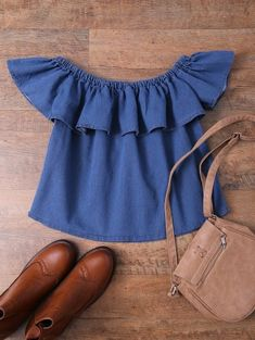 """Off The Shoulder Denim Blouse from Vine + Branch - a faith based online boutique! Check out the """"weekly encouragement"""" by Proverbs 31 Ministries! Cute Blouses, Cute Shirts, Blouses For Women, Denim Blouse, Sexy Blouse, Teen Fashion, Fashion Outfits, Womens Fashion, Fasion"""