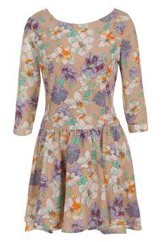 Flower Print Apricot Dress