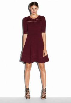 TEXTURED STITCH FLARE DRESS | MILLY
