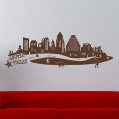 Style and Apply Austin Skyline Wall Decal Color: