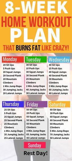 8-Week Home Workout Plan That Burns Fat Like Crazy. #workout #fitness #weightloss Fitness Workouts, Fitness Diet, Fitness Weightloss, Fitness Plan, Shape Fitness, Health Fitness, Treadmill Workouts, Cardio Workouts, Fitness Goals