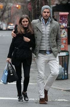 love the winter whites and hues Johannes Huebl is wearing on the streets of NYC with his girlfriend @Olivia García Palermo