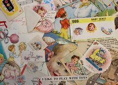 Your place to buy and sell all things handmade Vintage Nursery Decor, Baby Seal, Unique Baby Shower Gifts, Baby Scrapbook, Old Paper, Vintage Ephemera, Scrapbook Supplies, Vintage Advertisements, Cute Animals