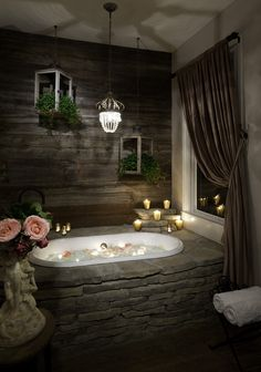 This rustic bathroom design creates beautifully warm and relaxed setting.