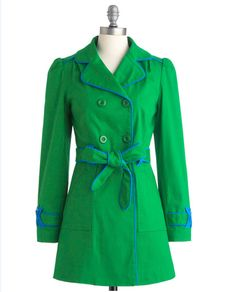 Green … the color of March! This green trench coat from ModCloth is perfect for St. Patty's Day. www.PamKelleyVignettes.com