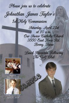 1st Holy Communion Corpus Christi Invitations - Digital Download - Get these invitations RIGHT NOW. Design yourself online, download and print IMMEDIATELY! Or choose my printing services. No software download is required. Free to try! Holy Communion Invitations, Christening Invitations, Baptism Photos, Photo Invitations, Corpus Christi, Printing Services, Baby Names, Catholic, Software