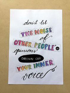 Don't let the noise of other people's opinions... - Hand-lettered motivational quote #art #lettering #creativelettering #brushlettering #etsy #etsyseller #etsyshop