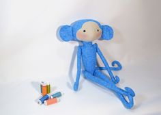 blue Tilda monkey,soft toys,Tilda doll fabric,plush monkey softie,hand made cuddly,nursery gift,cute animal,baby shower gift,kids room decor by Chiffony on Etsy
