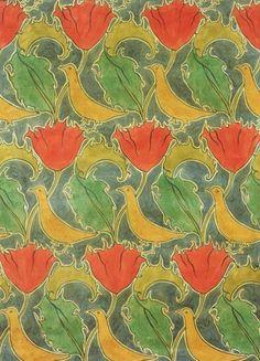 Birds & Poppies textile design, by Voysey (V&A Custom Print)