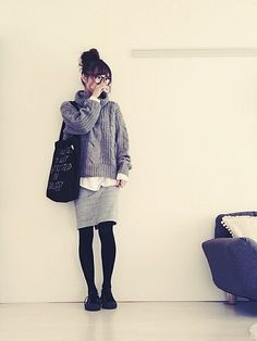 gray with black tights and loafers