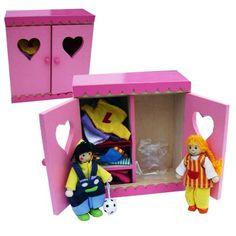 Charl's Design Toys Linnenkast met buigpoppetjes broer en zus