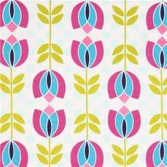 turquoise-purple tulip Michael Miller interlock fabric fabric