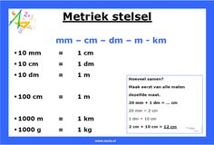 Metriek stelsel – omrekenen middenbouw | www.nazia.nl – De klas enzo… Calculus, Algebra, Metric System, Montessori Math, Math Classroom, Maths, School Hacks, Good Company, Primary School