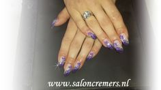 purple flower nails with strass and glitter nail art