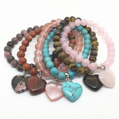 Natural Stone Polished Heart Charm Bracelet