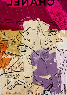 Woman with coffee waits for someone. Ilustration for the coffee's company Cafés Caballo Blanco.