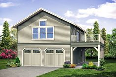 garage plans This carriage house plan - a garage plan with living above - gives you all kinds of possibilities. The first floor has a standard, garage, with double-garage doors and a 9 2 Car Garage Plans, Garage Plans With Loft, Garage Apartment Plans, Garage Apartments, Garage Ideas, Two Story Garage, Door Ideas, Above Garage Apartment, Apartment Ideas