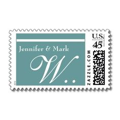 W Monogram Wedding Stamp in Aqua Blue and White