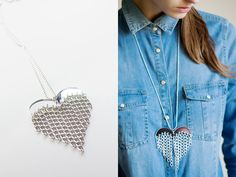 heart & chains necklace in silver