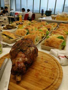Roast lamb and steak sandwich on ciabatta bread