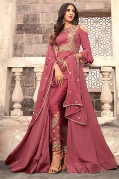Buy graceful pink colored designer partywear embroidered georgette anarkali suit with santoon fabric lining and bottom along with chiffon dupatta at best price from peachmode. Classic Indian salwar Click above VISIT link for more details Abaya Fashion, Fashion Pants, Indian Fashion, Fashion Dresses, Fashion Hub, London Fashion, Style Fashion, Trajes Anarkali, Anarkali Dress