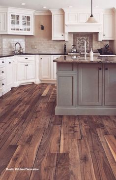 Dark, light, oak, maple, cherry cabinetry and non wood kitchen cabinets. CHECK THE PIC for Lots of Wood Kitchen Cabinets. Farmhouse Kitchen Decor, Rustic Kitchen, Kitchen Design, Kitchen Flooring, Farmhouse Kitchen Cabinets, Farmhouse Kitchen Remodel, Country Kitchen Designs, Kitchen Styling, Modern Farmhouse Kitchens