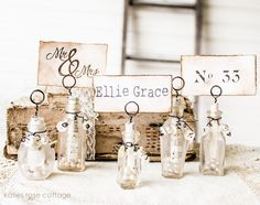 Glass bottle tag holders