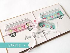 Camper Wedding Invitation Cute Bus Van SAMPLE