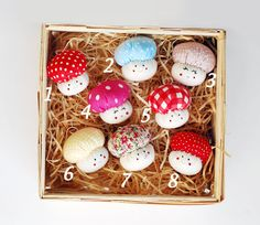 This listing is for one mushroom ornament. The mushrooms are made of 100% cotton fabrics and firmly stuffed with non-allergenic polyester fiber. Face is