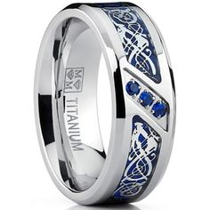 Metal Masters Co. Men's Titanium Wedding Ring Band with Dragon Design Over Blue Carbon Fiber Inlay and Blue Cubic Zirconia Titanium Rings For Men, Titanium Wedding Rings, Tungsten Rings, Men Rings, Tungsten Carbide, Celtic Wedding Rings, Wedding Ring Bands, Dragon Wedding, Bold Rings